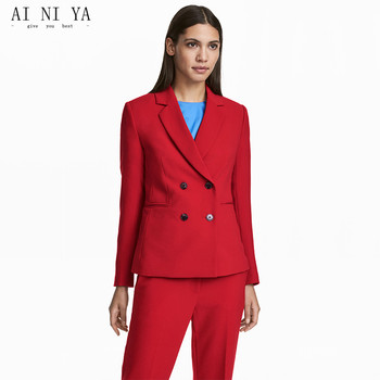 Red Women Suits Set Double Breasted Formal Office Lady Elegant Pants Suit Casual Female Slim OL 2 Pieces Ladies Tourser Suits