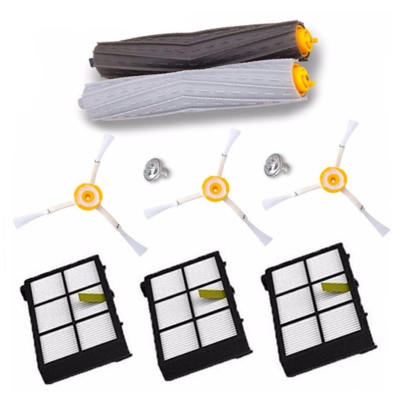 Best Sell 1 set Tangle-Free Debris Extractor Brush +3Hepa filter + 3 side brush for iRobot Roomba 800 900 Series 870 880 980 цена