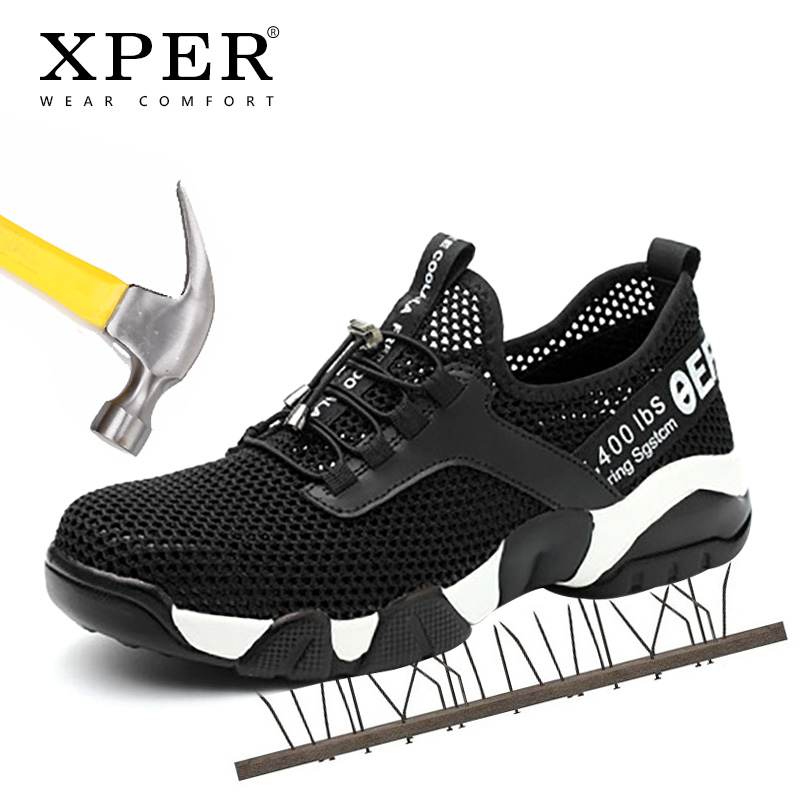 XPER été respirant hommes sécurité travail chaussures Anti-crevaison Sneaker pour homme Anti-fracassant acier orteil chaussures confortables décontractées # XP032