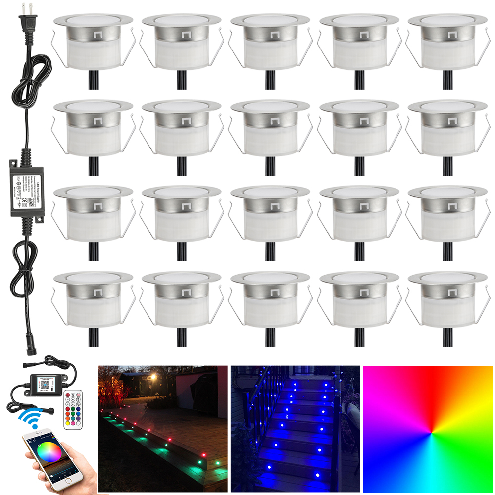 20pcs/lot App Wifi Music Controller Dimmer Timer 47mm 12v Rgb Waterproof Yard Terrace Led Deck Rail Stair Soffit Step Lights Fine Craftsmanship Led Underground Lamps Lights & Lighting