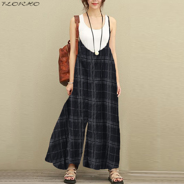 ee6f85795f9e FLORHO New Women 100% Cotton Vintage Jumpsuit Plaid Sleeveless Rompers  Trousers 2018 Beach Boho Baggy Jumpsuit Loose Bib Overall