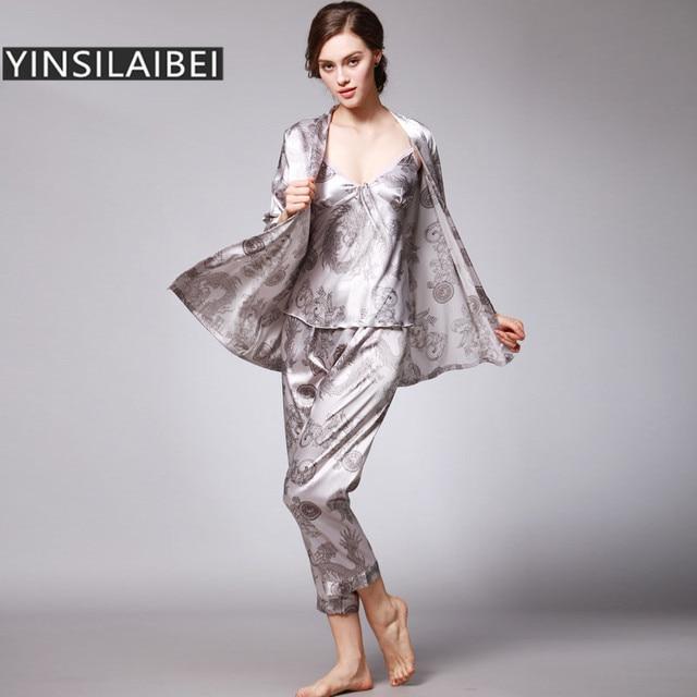 Women Nightwear Nightgown Sleepwear Bridesmaid Female Robes Satin Faux Silk  Pijama Set Night Dress Home Suit SY012 30 25fe4e605d