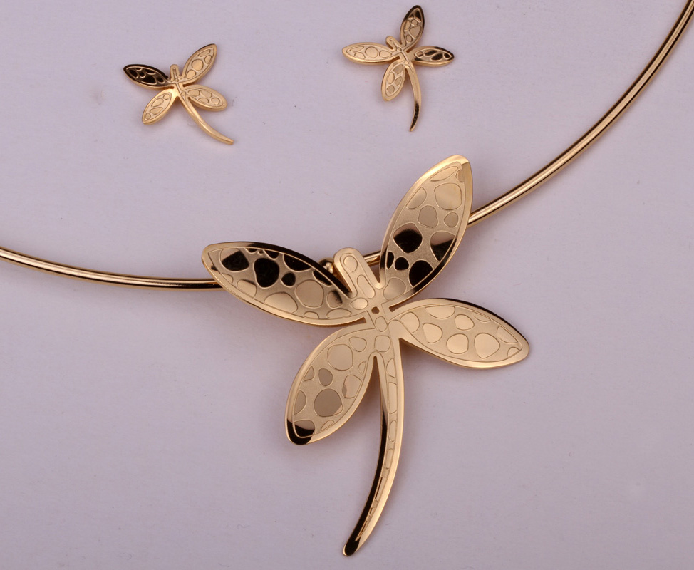 Dragonfly necklace earrings sets women stainless steel jewelry gifts JN39 wholesale dropshipping gold silver tone