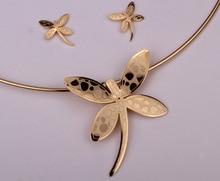 Collar de la libélula pendientes establece mujeres regalos de joyas de acero inoxidable JN39 dropshipping al por mayor de oro y plata del tono