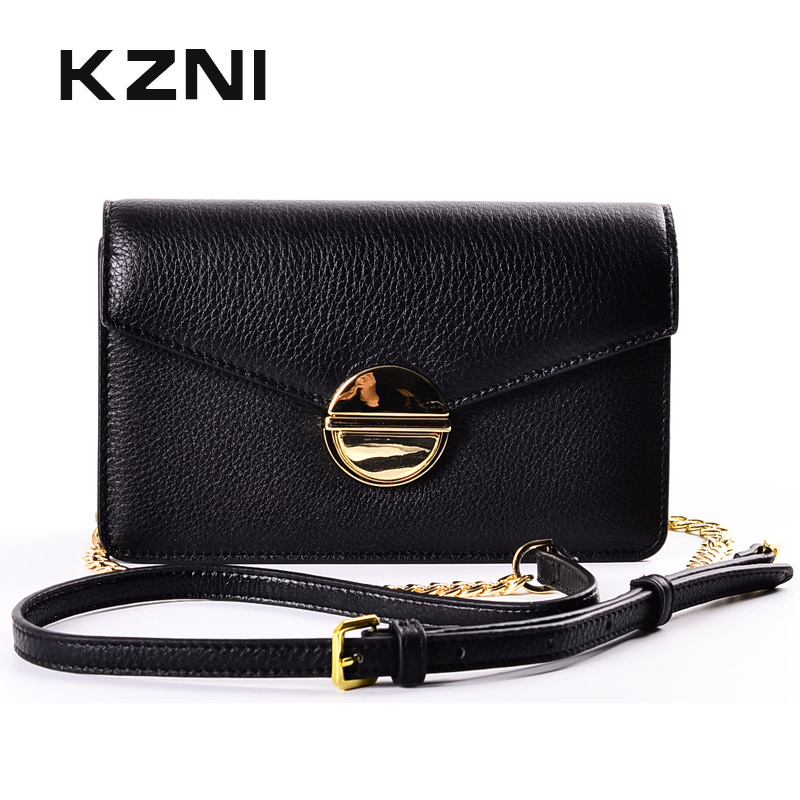KZNI Crossbody Chain Bag Womens Genuine Leather Crossbody Bag Day Clutches Designer Handbags High Quality Sac a Main Femme 1437 kzni genuine leather bag female women messenger bags women handbags tassel crossbody day clutches bolsa feminina sac femme 1416