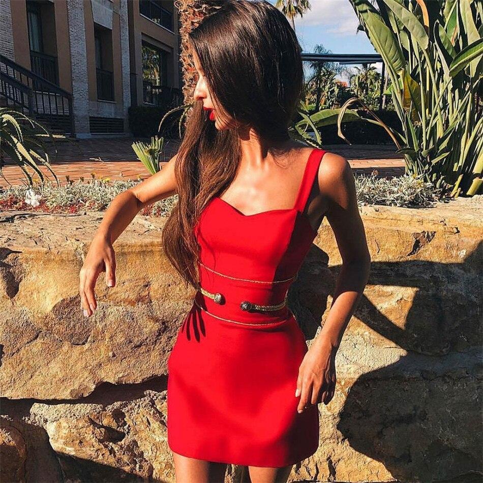 CIEMIILI femmes robe Bandage 2019 printemps sans manches Sexy Club Sexy Mini rouge célébrité été, automne soirée robe de soirée