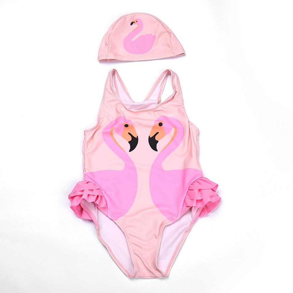 2-12T Girls Swim Dress One Piece Flamingo Swimsuit Girl Swim Rompers With Hat Animal Print Bather UV Baby Flamingo Swim Dress