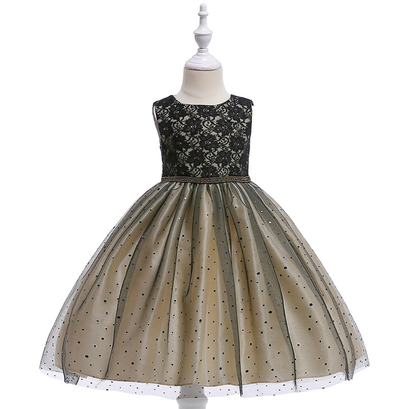 Well Desigh A-Line O Neck Black Lace  Flower Girls Dresses For Evening and Prom
