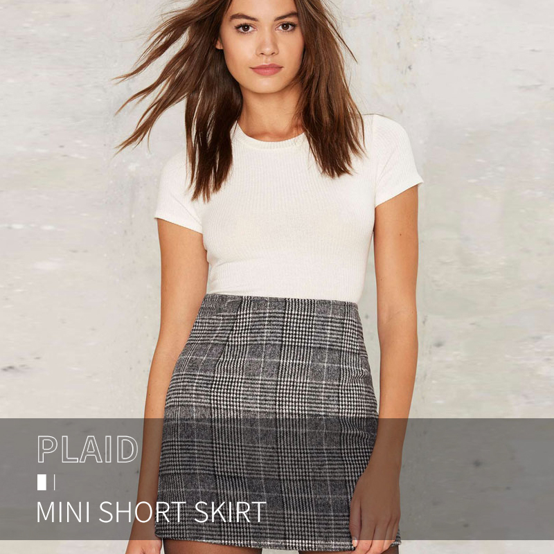 Haoduoyi Pencil Sexy High Waist Plaid Mini Short Skirt Casual Women Office Lady Buttoms Zipper Back Hot Sell The New Listing 3