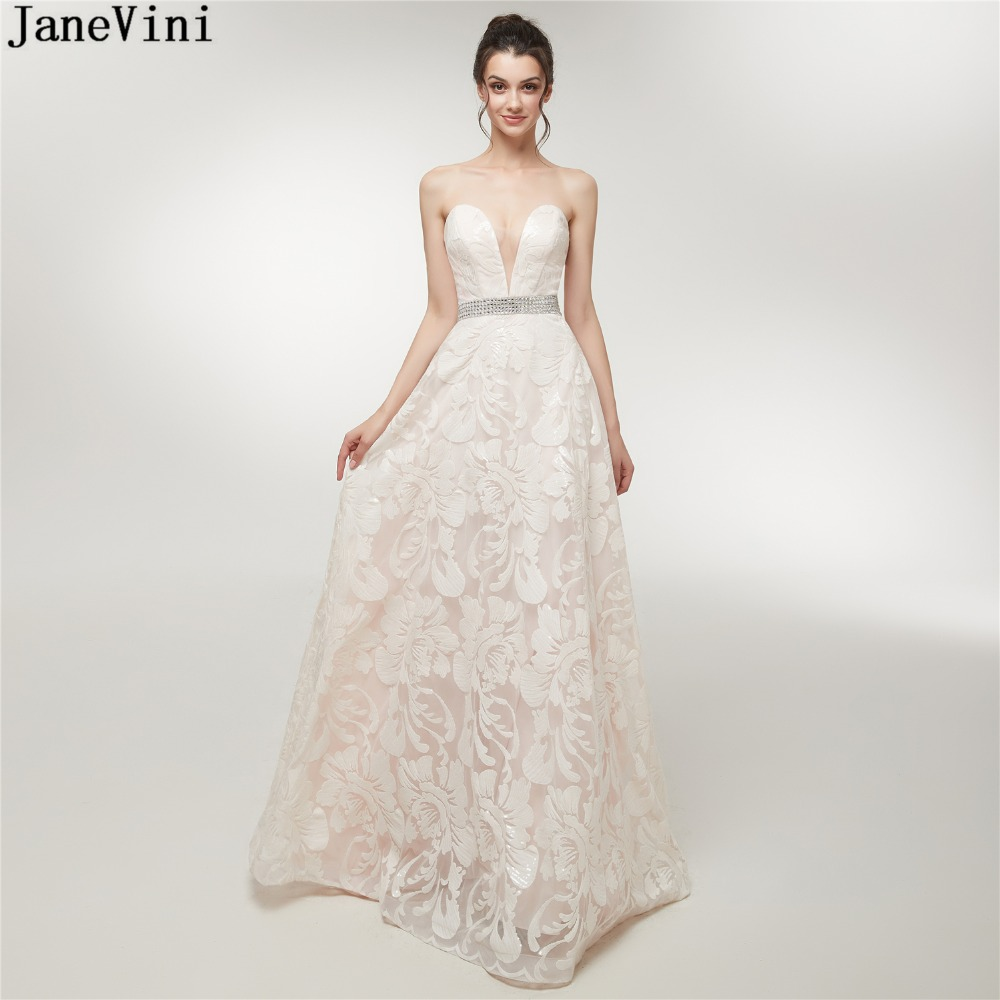 JaneVini 2019 Charming A Line Long   Bridesmaid     Dresses   Sweetheart Sequined Beaded Flower Pattern Women Elegant Prom Party Gowns