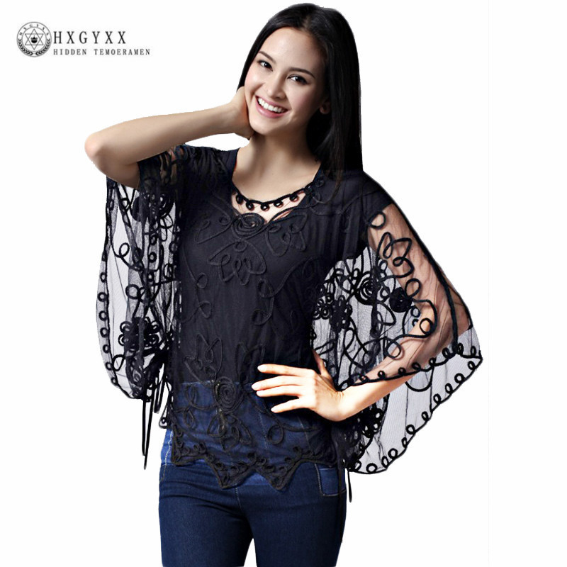 Floral Mesh Shawl Lace Tops Women Plus Size Casual See Through