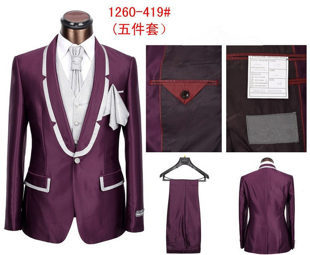 Design 2015 Men Groom Wedding Suits 5 Pieces Purple Tuxedos XS-5XL Slim Fit Business Terno Masculino Fashion Prom Suits