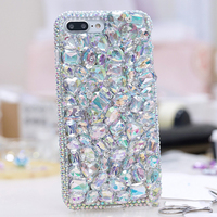 2017 Luxury Girl Woman Lady Style Handmade 3D Diamond Rhinestone Phone Cover Case For IPhone 4
