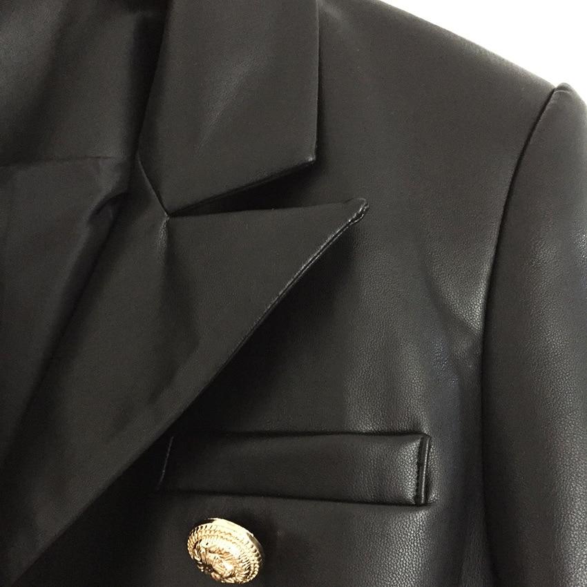 Femme Hiver Boutons plus Blazer Concepteur Lion Simili Extérieur Automne Manteau Cuir Récent Noir veste En 2018 Métal Veste Feminino q84wIR