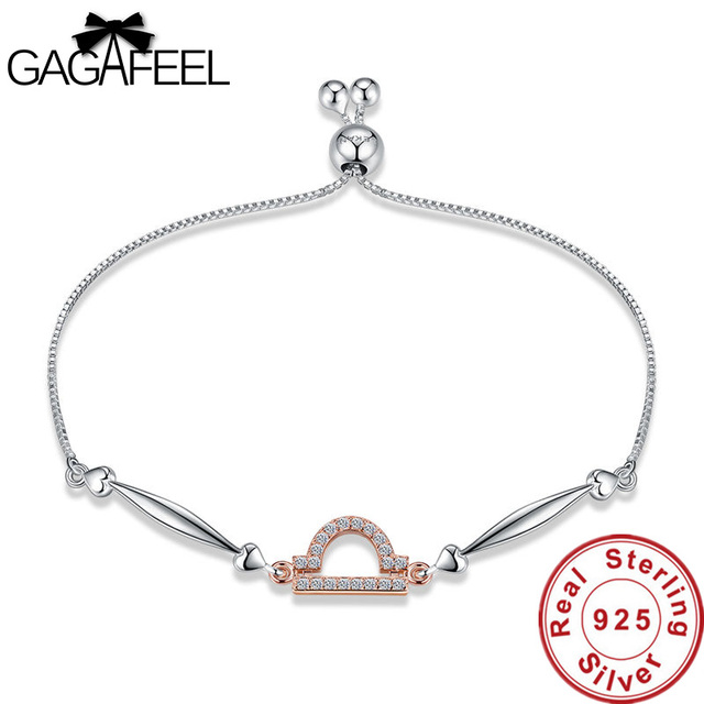 Gagafeel Authentic 100 925 Sterling Silver Women Bracelets Trendy 12 Zodiac Constellations Libra Jewelry S