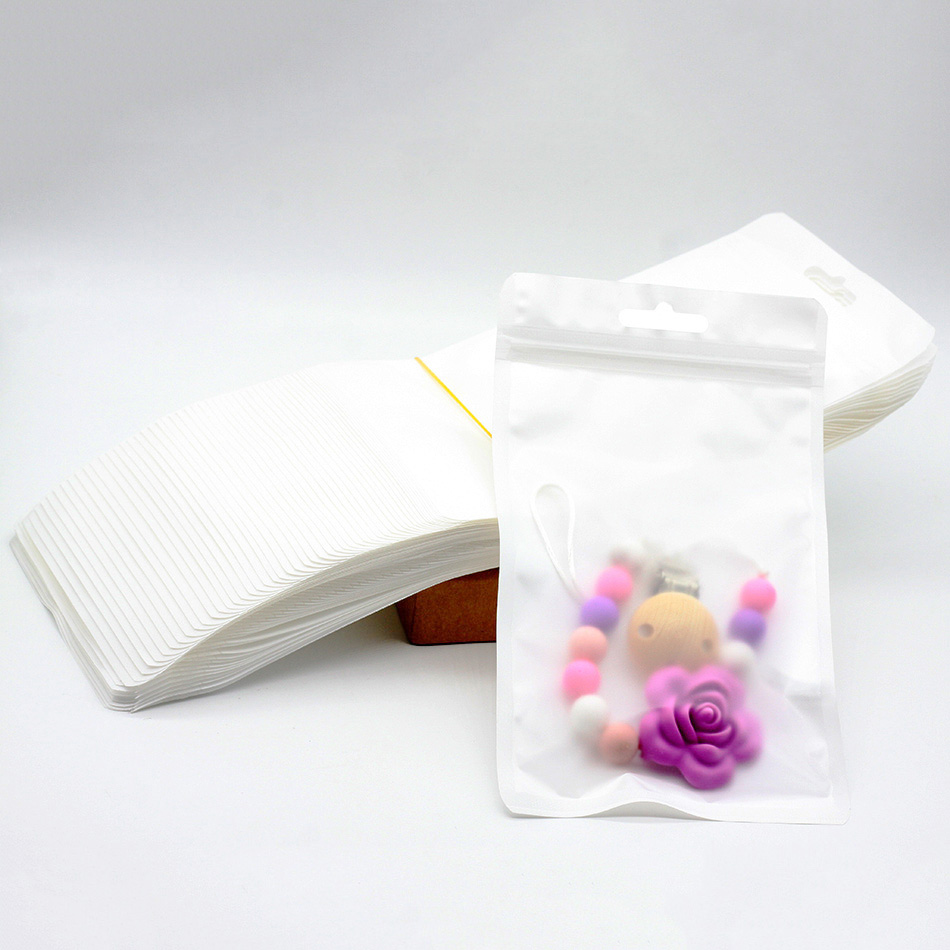 50pcs/lot Plastic Bags Pacifier Packaging & Display Accessory Safety BPA Silicone Beads Package Display Bags 2 Sizes