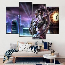 Top-Rated Canvas Printing Type And On The Wall Decorative Game Poster 4 Panel City Night Overwatch Widowmaker Modular Picture