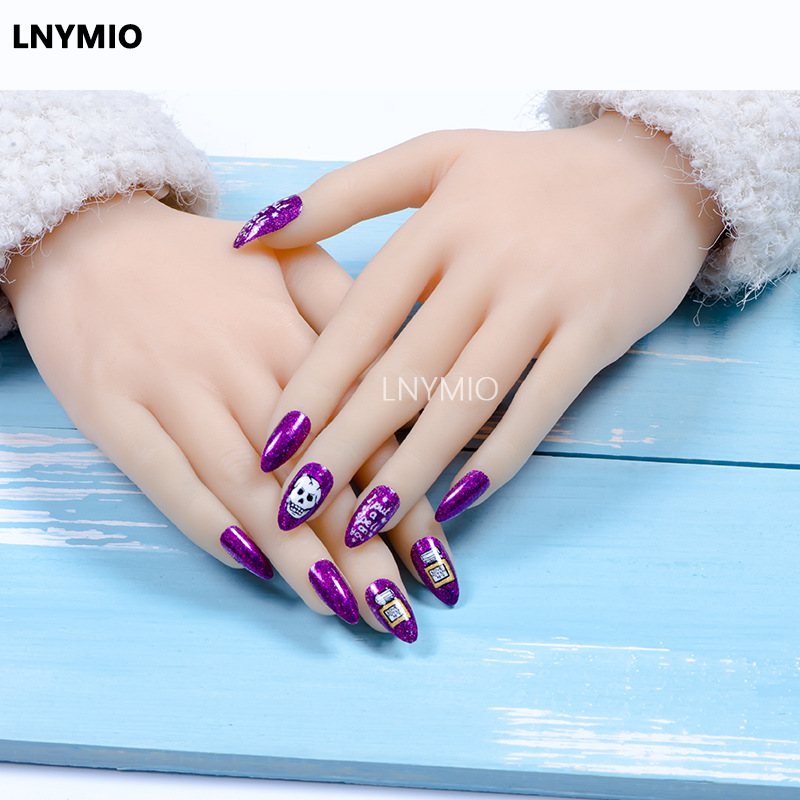 school nails purple / orange powder skeleton fake nails tip English ...