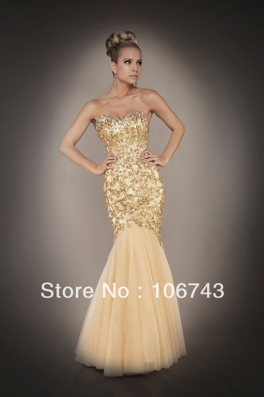 free shipping sweetheart 2018 new design hot sale Sexy bridal gold gown Mermaid Beads prom Custom size/color   bridesmaid     dresses