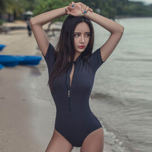 Hot Sales 2019 Front Zipper Beach swimsuit Sexy One Piece Female Plus Size Black Bathing Suits O Neck Monokini Bikinis(China)