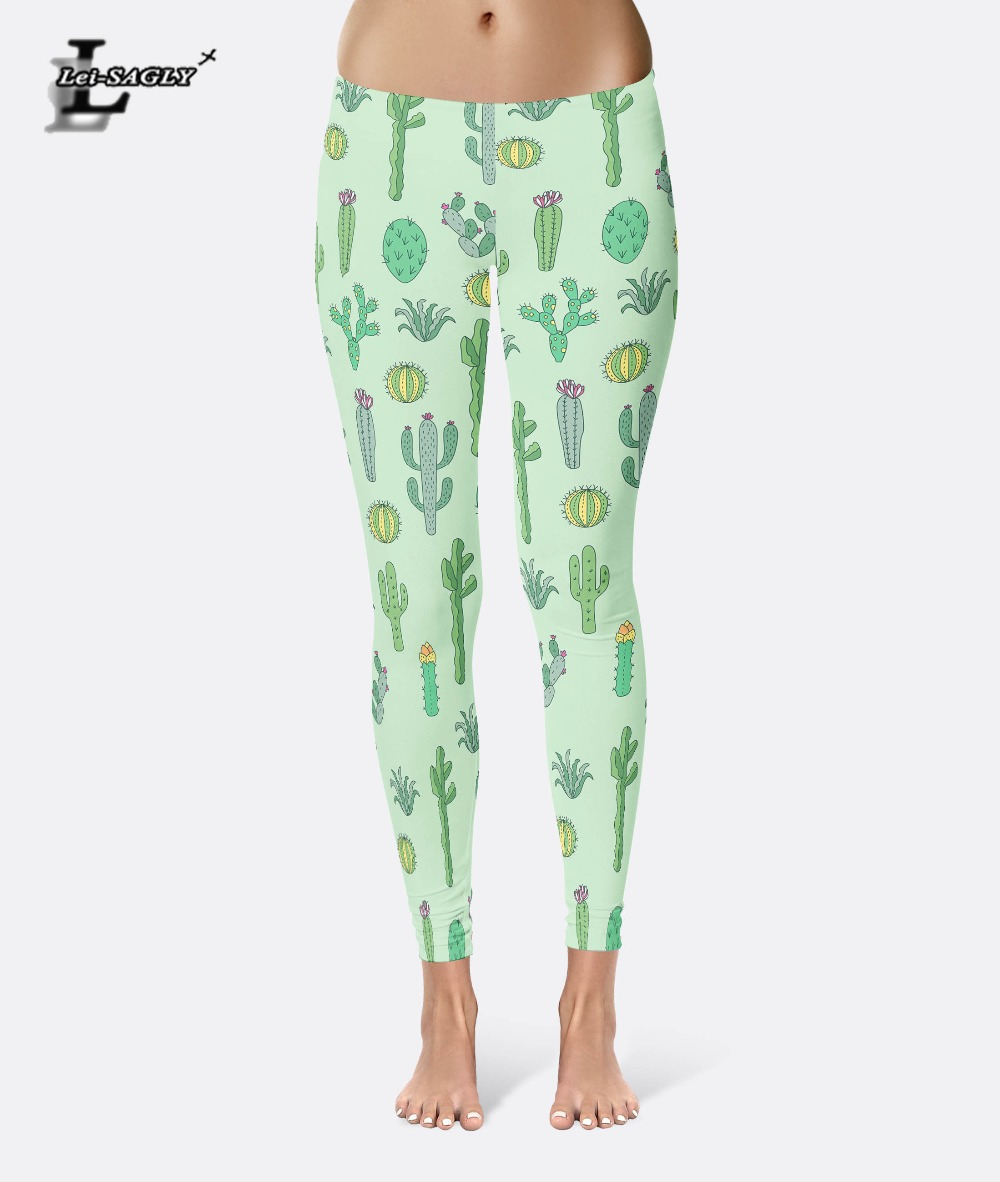 Lei-SAGLY Leggings New Sexy Women's Cactus & Flower Colorful Leggings Digital Printed Pants Trousers Stretch Pants Drop Shipping