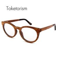 Toketorism 높은 품질의 패션 나무 안경 투명 렌즈 광학 프레임 스케이트 보드 나무 안경 남성 여성 8006