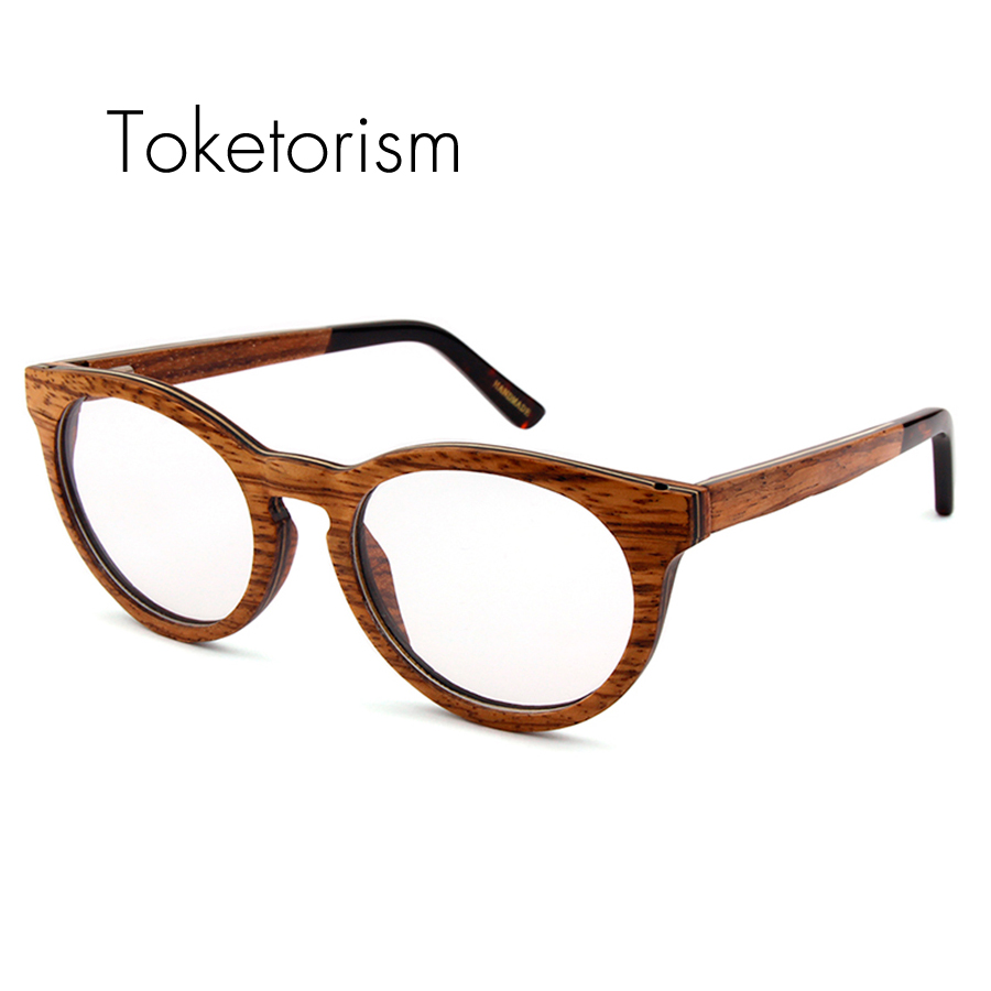 toketorism high quality fashion wood glasses clear lenses optical frame skateboard wooden eyeglasses for men women
