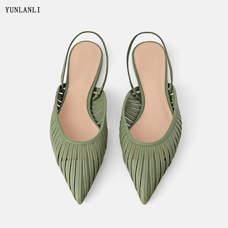 2019 summer New Women Flat Sandals Brand Design Pointed Toe Slip On Sandal Mule Low Heel Strap Dress Women Outdoor Slides