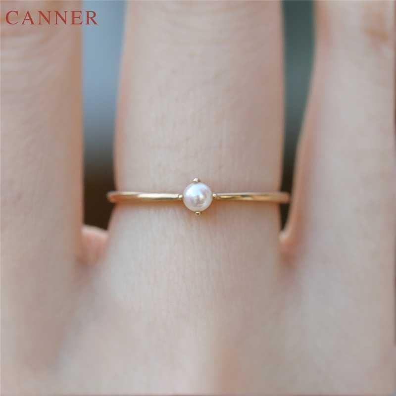 Pequena Pérola Anéis para As Mulheres Anel de Noivado Casamento Ouro Mulher Moda Jóias Presentes de Aniversário amillos mujer C4