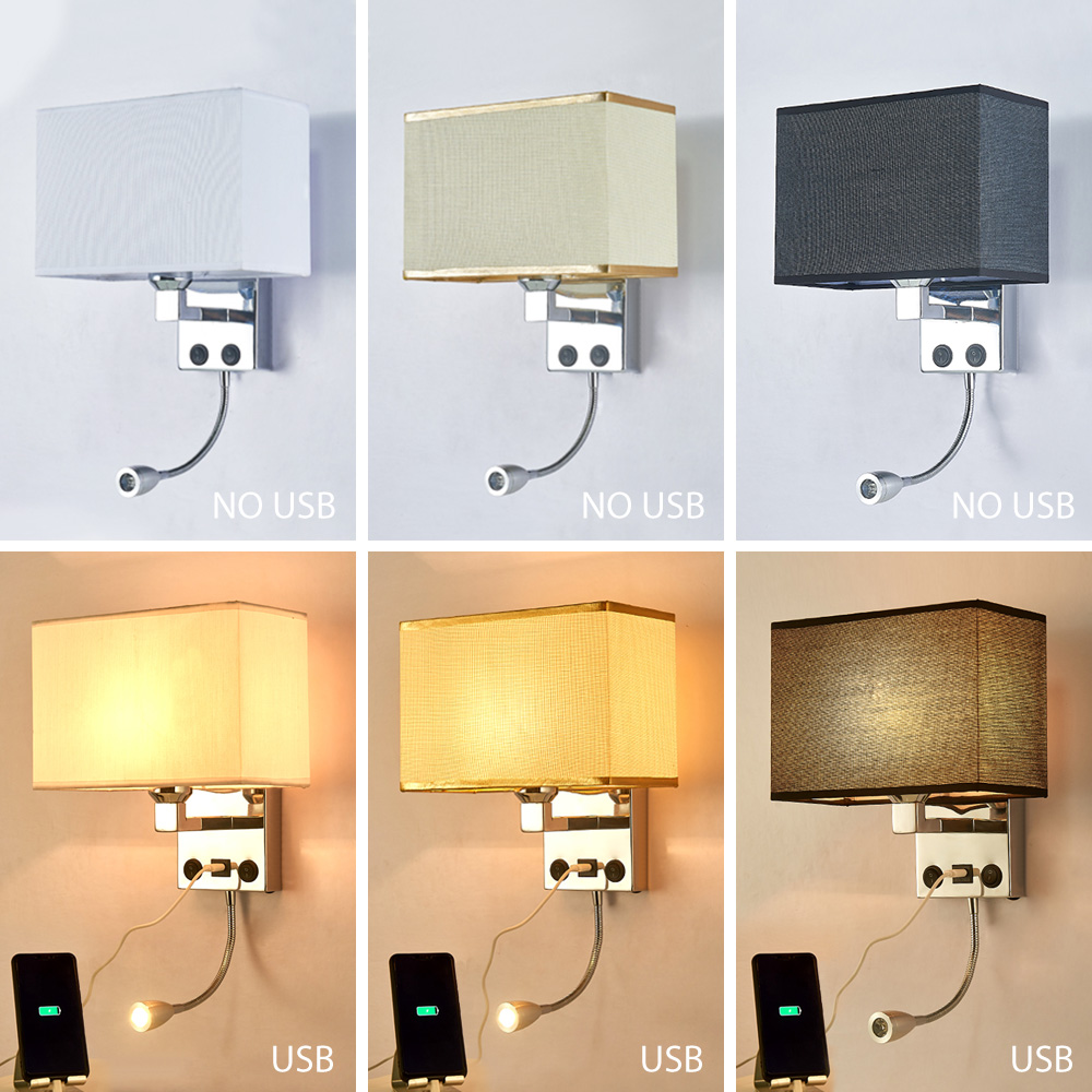 LED E27 Bulb Wall Light Modern Bedroom Bedside Hotel Living Room Wall Sconce Lighting 7W 85-265V Indoor Night Lighting Fixture (2)