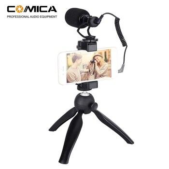 CoMica Smartphone Video Rig Kit Cardioid Directional Shotgun Video Microphone Phone Holder Mini Tripod for iPhone Samsung Huawei