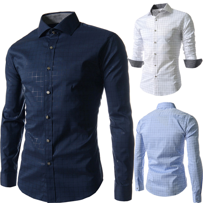 2018 New Autumn Fashion Brand Men Clothes Slim Fit Men Long Sleeve Shirt Men Plaid Casual Men Shirt Social Plus tops Size M-4XL