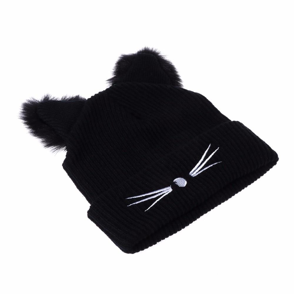 Cat Ears Women Hat Knitted Acrylic Warm Winter Beanie 1