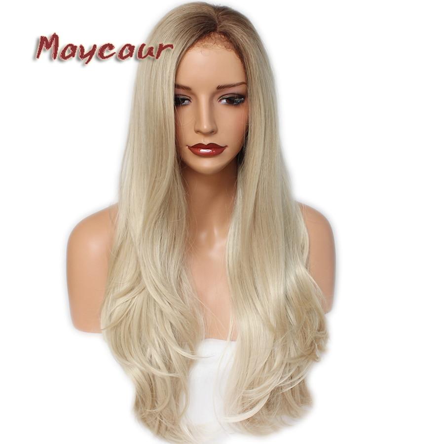 #4 Blonde Ombre couleur longue perruque droite avec délié naturel synthétique dentelle avant perruques pour les femmes sans colle droite dentelle perruque
