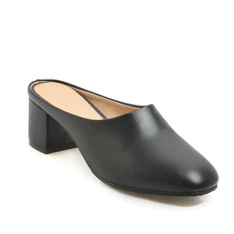 LDHZXC Kadın Katır ayakkabı Kare Topuk PU Deri Yuvarlak Toe Slingback Bahar/Sonbahar Rahat sandalet Bayanlar Boyutu 34- 45