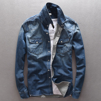 Italy Brand Suehaiwe's Modern Style 100% Cotton Blue Denim Shirt Men Slim Casual Men Shirt Fashion Jeans Shirts Mens Chemise