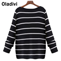 2016 Spring Long Sleeve Sweater Women Black White Slash Neck Knitwear All-match Slim Striped Knitting Ladies Pullover Plus Size