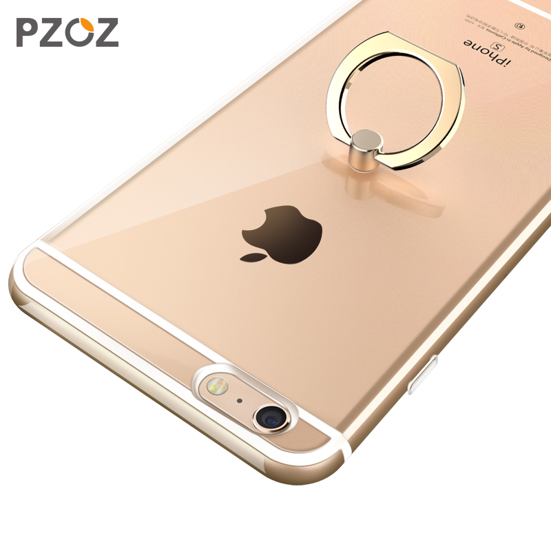 sports shoes 2958d 49fca PZOZ Transparent Crystal Clear soft tpu Silicone Protective sleeve ring  holder phone case for iphone 6 6sPlus coque cover case