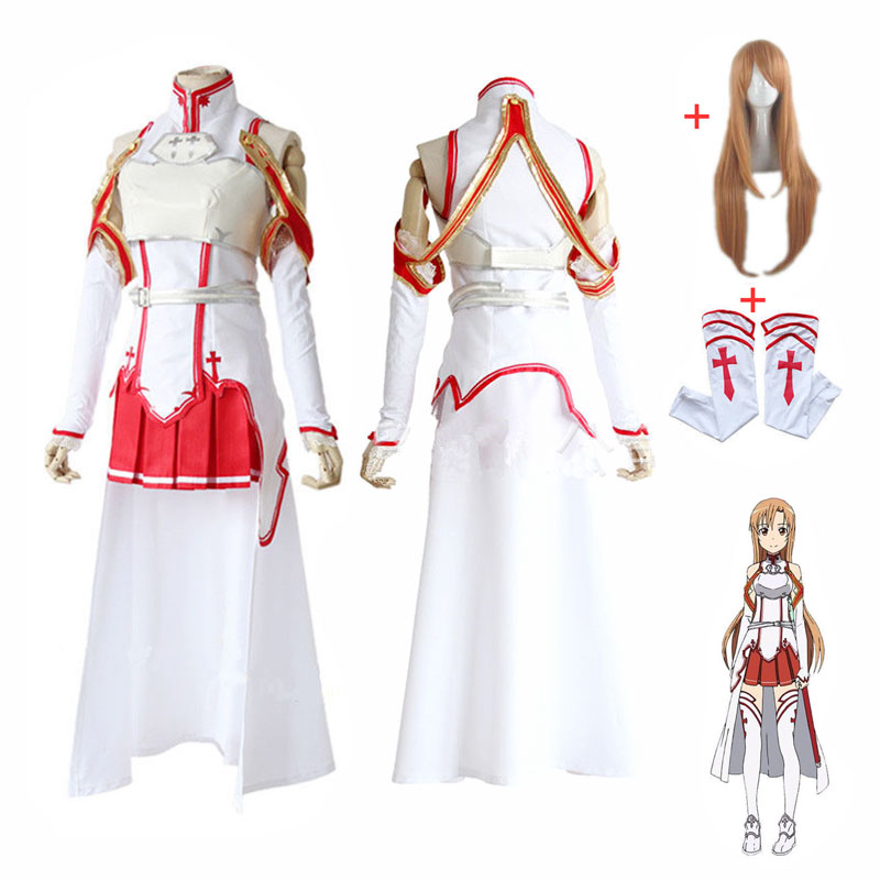 DM COS Anime Sword Art Online Asuna Yuuki Dress Cosplay Costume Uniform Halloween SAO Battle Suit Set with Wig Hot sale
