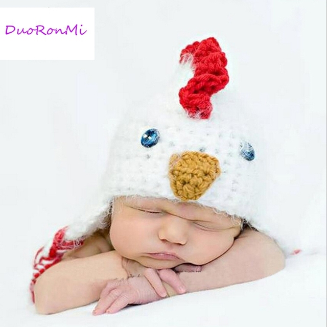 Handmade infant baby costume knitted chickens hat newborn photography prop baby boys girls cotton crochet hats