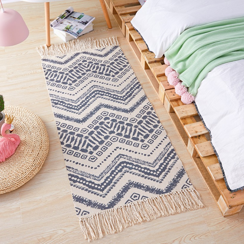 Geometric Nordic Cotton Linen Bedside Carpet Woven Mat Bathroom Living Room Carpets Hand Made Indian Rug Bohemia Printing Mat