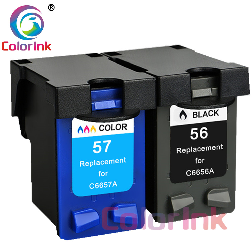 ColoInk 2Pack 56XL 57XL ink replacement for <font><b>hp</b></font> 56 XL 57 XL <font><b>cartridge</b></font> for Deskjet 450CI <font><b>5550</b></font> 5552 7150 7350 7000 2100 220 print image