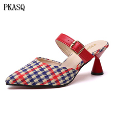 PKSAQ Fashion Women Pumps Mid Heel Pump Ladies Pointed Toe Casual Shoes Sandals Slippers Houndstooth