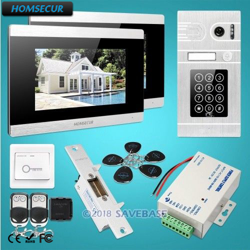 HOMSECUR 7 Wired Video Door Phone Intercom System+Silver Camera Password & ID Access for House/Flat