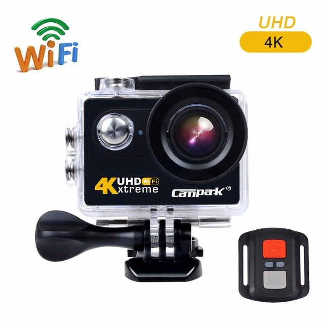 4K Sport Action Camera 170 Wide Angle 12MP WIFI Underwater Camera Remote Control Camcorder for Helmet Diving Bike Campark ACT73R