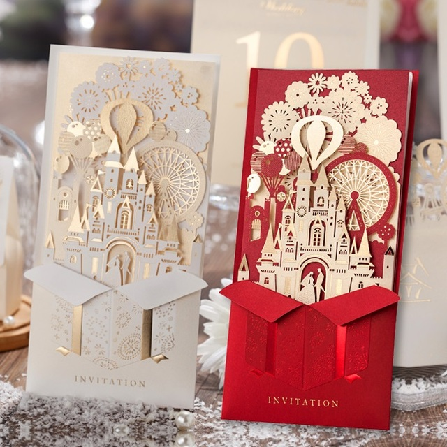 Elegant Silver Pop Up 3D Invitation Card Laser Cut Gold