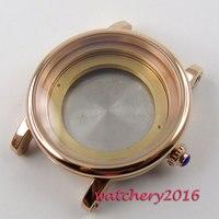 43mm parnis rose golden automatic Watch Case fit ETA 8205 2836 Movement