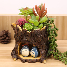 Zakka Creative Home Furnishing Ornaments Cartoon Chinchillas  Treehole Fleshy Resin Succulent Plants Flowerpot