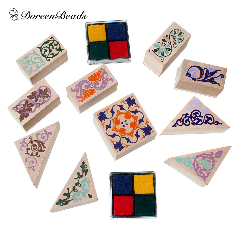 DoreenBeads Woodeen Multicolor Mixed Shape Seal Stamper Mixed Carved Stamp With 2 Ink Pad Stamping Tool 4x3.9cm - 3.9x2cm, 1 Set