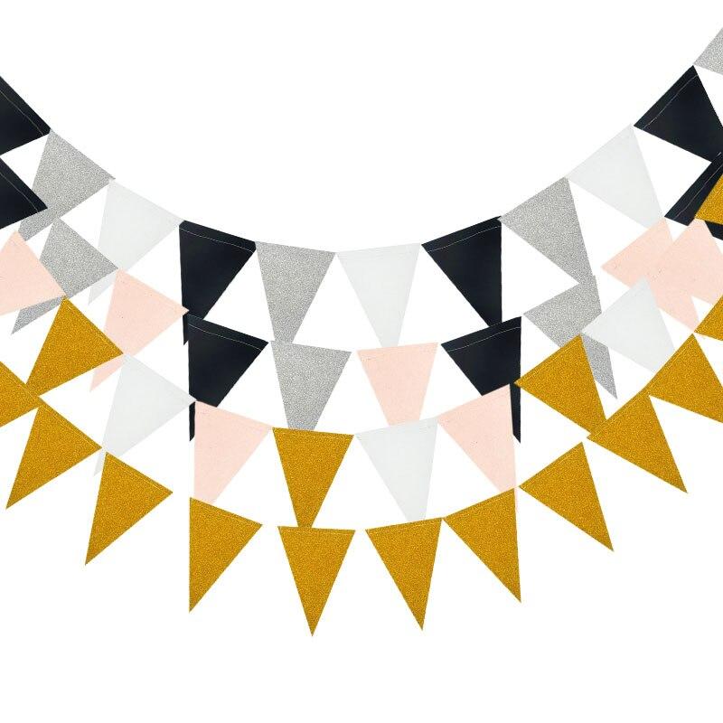 3m Gold Sliver Pink Glitter Flag Banner Garland Baby Shower Birthday DIY Bunting Paper Banner Wedding Event Party Decor Supplies